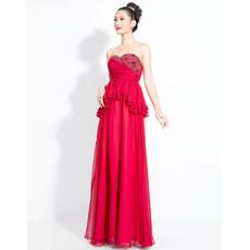 Beautiful Chiffon Sweetheart Column Floor Length Prom Evening Dress for Women