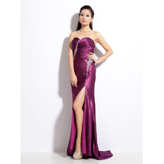 Sexy Satin Sheath Sweetheart Sweep Train Prom Evening Dress for Women
