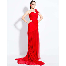 Elegant One Shoulder Chiffon Sheath Sweep Train Prom Evening Dress for Women