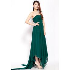 Elegant Asymmetric Chiffon Empire Sweetheart Sweep Train Evening Dress