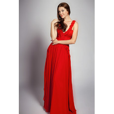 Sexy V-Neck Chiffon Open Back Long A-Line Evening Dress for Women