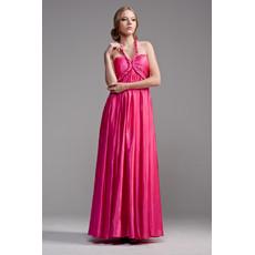 Beautiful Halter Empire Floor Length Satin Evening Dress for Women