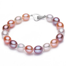 Affordable Stunning Multicolor 9 - 10mm Freshwater Drop Pearl Bracelet