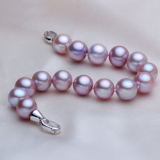 Beautiful Purple 9.5 - 10.5mm Freshwater Off-Round Pearl Bracelet