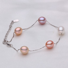 Gorgeous Multicolor 8 - 9mm Freshwater Drop Bridal Pearl Bracelet