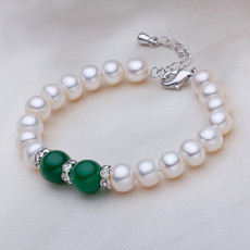 Affordable Beautiful White 7.5 - 8.5mm Freshwater Off-Round Pearl Bracelet