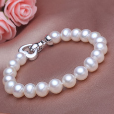 Beautiful Elegant White 7.5 - 8.5mm Freshwater Off-Round Pearl Bracelet