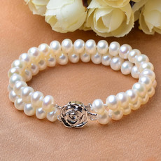Elegant Lovely White 7 - 8mm Freshwater Off-Round Bridal Pearl Bracelets