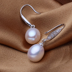 Beautiful White 9 - 9.5mm Freshwater Drop Pearl Earring Set