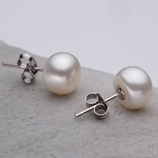 Beautiful White 8 - 8.5mm Freshwater Off-Round Pearl Earring Set