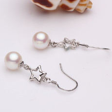 Beautiful White 7.5 - 8mm Freshwater Round Pearl Earring Set