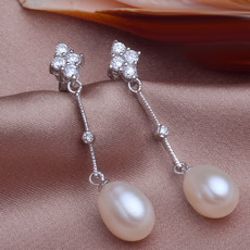 Beautiful White/ Purple/ Pink 8.5 - 9.5mm Freshwater Drop Pearl Earring Set