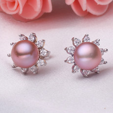 Beautiful Purple/ Pink/ White 7.5 - 8.5mm Freshwater Pearl Earring Set