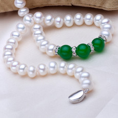 Beautiful Classic White 8 - 10mm Freshwater Off-Round Pearl Necklace