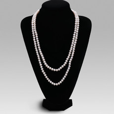 Beautiful White 6.5 - 8.5mm Freshwater Off-Round Pearl Necklace