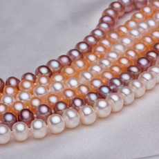 Beautiful White/ Pink/ Purple 6.5 - 7.5mm Freshwater Off-Round Pearl Necklace