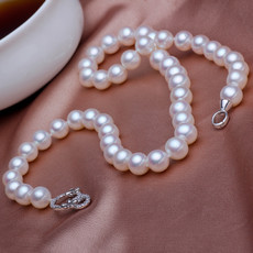 Beautiful Classic White 9 - 10mm Freshwater Round Pearl Necklace