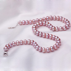 Purple 7.5 - 8.5mm Freshwater Off-Round Pearl Necklace