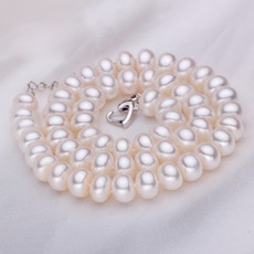 Beautiful White 7.5 - 8.5mm Freshwater Off-Round Pearl Necklace