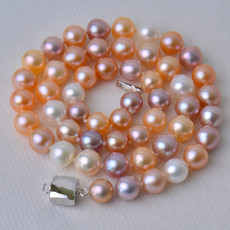 Affordable Multicolor 7.5 - 8.5mm Freshwater Off-Round Pearl Necklaces
