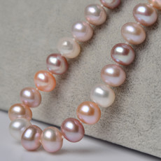 Beautiful Multicolor 8 - 9mm Freshwater Off-Round Pearl Necklaces
