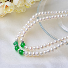 Beautiful Red/ Green 7 - 8mm Freshwater Off-Round Pearl Necklaces