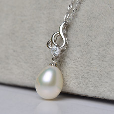Elegant White 9 - 10mm Drop Freshwater Natural Pearl Pendants