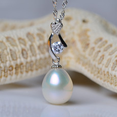 Elegant White Drop 9 - 10mm Freshwater Natural Pearl Pendants