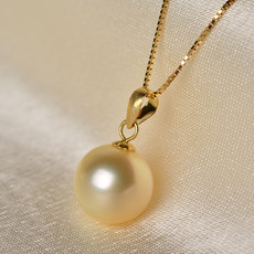 Gorgeous Golden Round 10-12mm Freshwater Natural Pearl Pendants