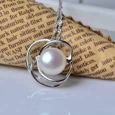 Inexpensive White Off-Round 11-12mm Freshwater Natural Pearl Pendants