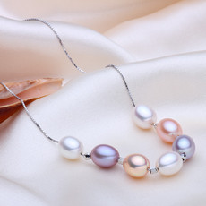 Amazing Multi-Color Drop 8-9mm Freshwater Natural Pearl Pendants
