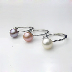 Beautiful Pink/ White/ Purple 8.5 - 9mm Freshwater Round Pearl Ring