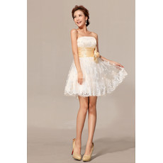 Cheap Modern Classy Empire Waist Lace A-Line Strapless Short Beach Wedding Dress