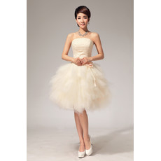 Custom Informal Charming Bubble Skirt Strapless Organza Short Beach Wedding Dress