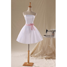 Custom Simple Classic A-Line Strapless Satin Organza Short Reception Wedding Dress with Sashes