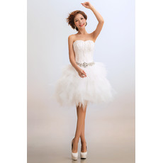 Custom Cheap Chic & Charming Designer Sweetheart Tulle Short Outdoor Wedding Dress