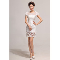 Informal Designer Sheath Lace Short Sleeves Short Petite Dress for Summer Beach Wedding