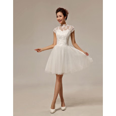 Inexpensive Classic Lace Mandarin Collar Cap Sleeves Short Beach Wedding Dress