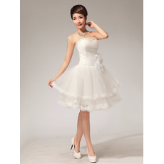 Modern Classy Informal A-Line Sweetheart Organza Short Beach Wedding Dress