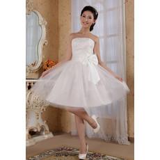 Modern Classy A-Line Strapless Knee Length Satin Dress for Summer Beach Wedding