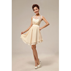 Custom Beautiful Asymmetric Chiffon A-Line Short Petite Beach Wedding Dress