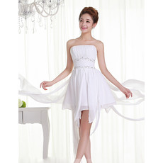 Affordable Beautiful Chiffon A-Line Strapless Short Petite Beach Wedding Dress