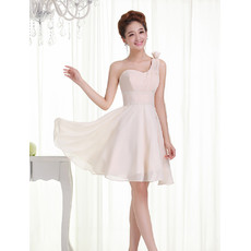 Beautiful One Shoulder Chiffon A-Line Short Petite Wedding Dress for Summer Beach Wedding