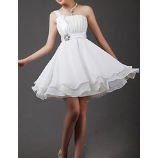 Cheap Custom Beautiful Empire Waist One Shoulder Chiffon A-Line Short Petite Reception Wedding Dress