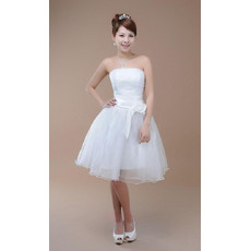 Affordable Classic A-Line Strapless Satin Knee Length Beach Wedding Dress