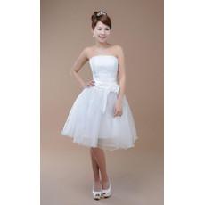 Affordable Classic A-Line Strapless Satin Knee Length Beach Wedding Dress