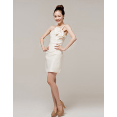 Simple Charming One Shoulder Column Satin Short Petite Reception Dress for Summer Wedding