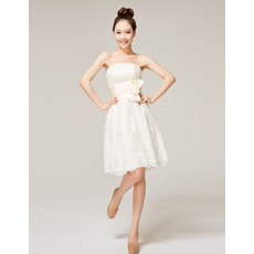 Cheap Designer Elegant Strapless A-Line Short Lace Wedding Dress with Sash Bow