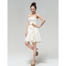 Custom Simple A-Line Strapless Satin Short Petite Reception Wedding Dress with Front Cascade