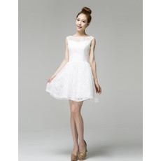 Designer Classic A-Line Bateau Neck Short Lace Wedding Dress